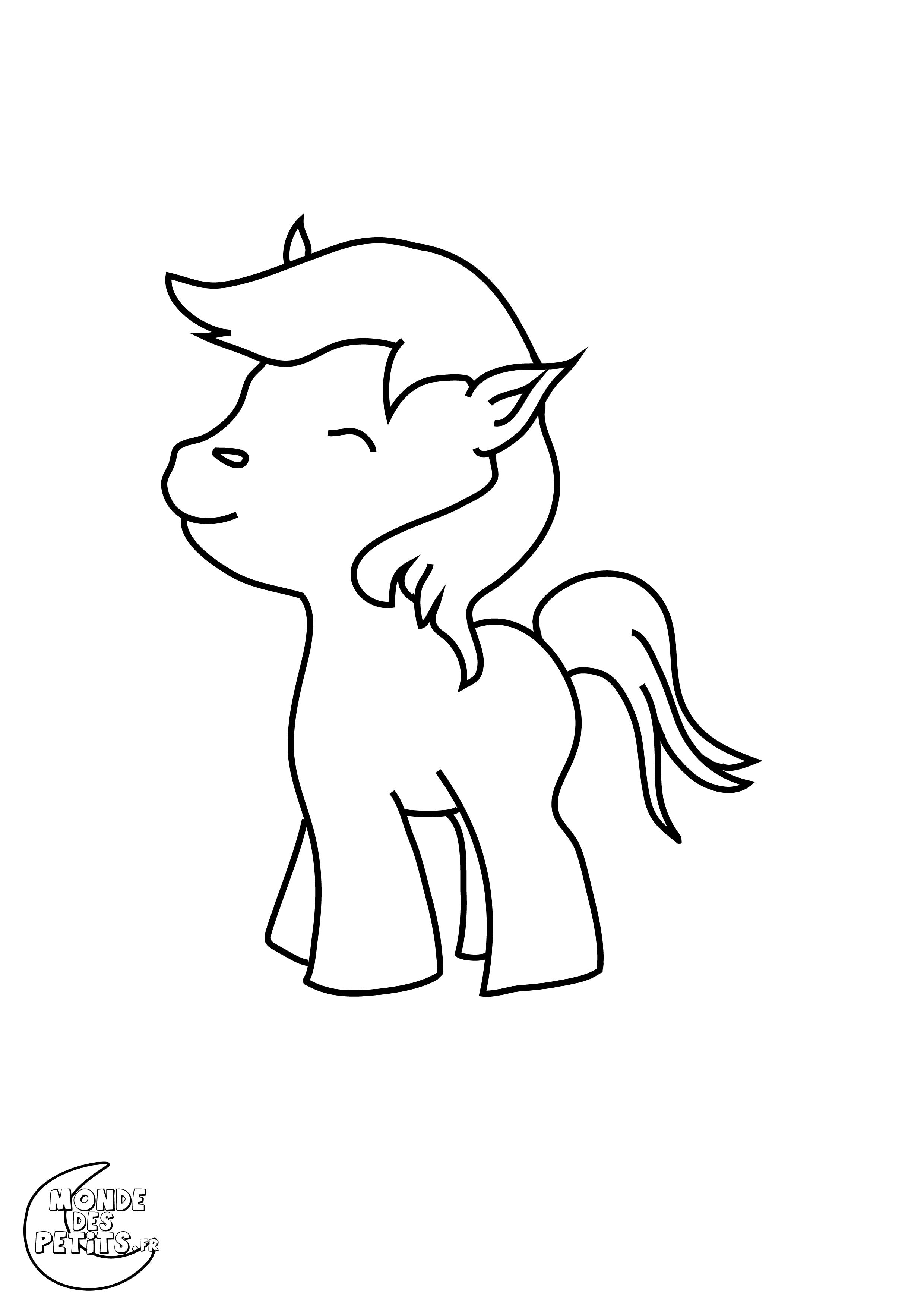 Dessin simple poney - Coloriage poney en ligne ...