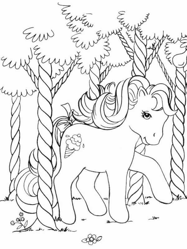 coloriage à dessiner poney arc en ciel