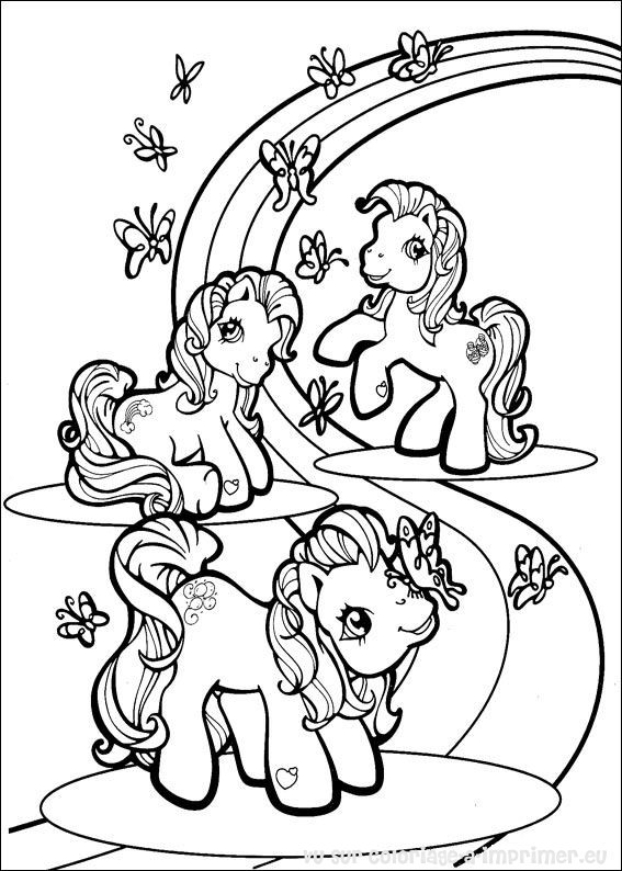 coloriage à dessiner poneys