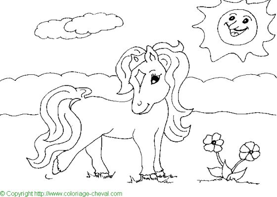 coloriage à dessiner poney hugolescargot