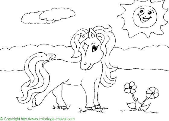 coloriage à dessiner poney hugolescargot