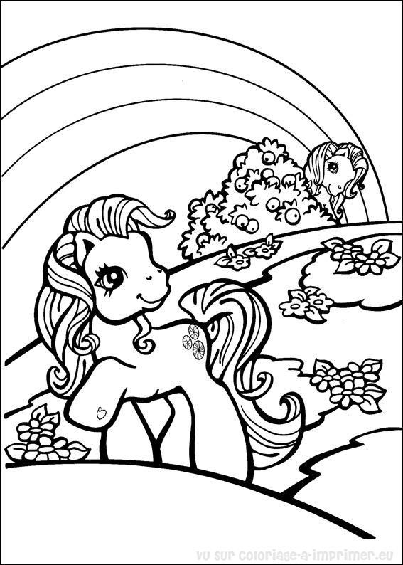 Coloriage De Pouliche Licorne.Dessin Poney Et Licorne