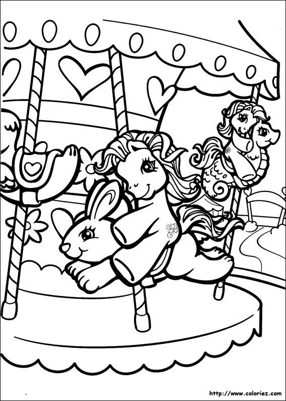 dessin à colorier poney ville