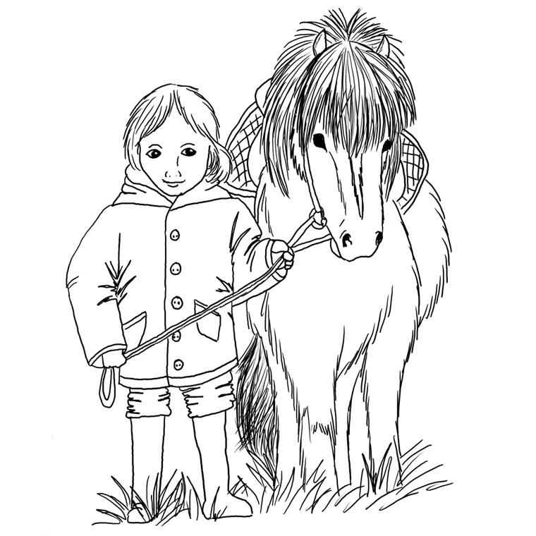 dessin à colorier de cheval poney et poulain