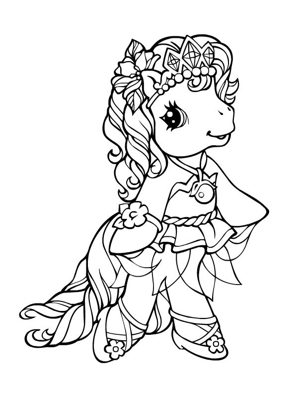 dessin à colorier tchoupi poney