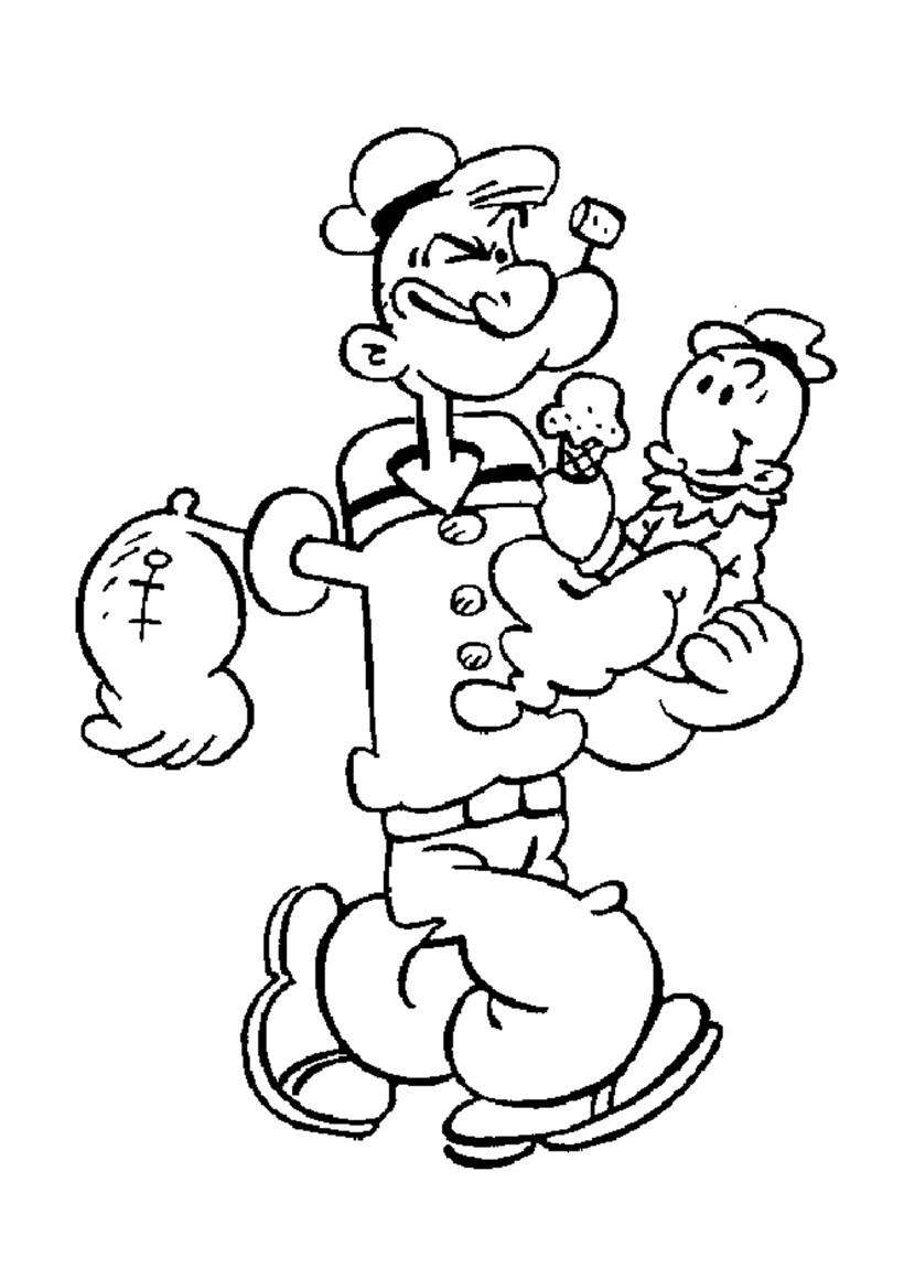 dessin à colorier popeye imprimer gratuit