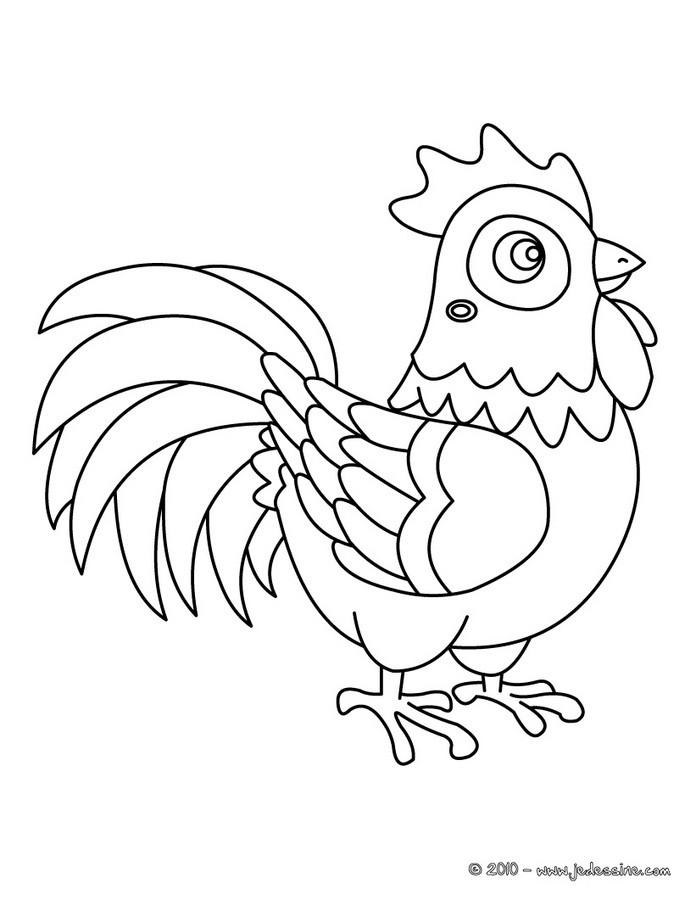 14 dessins de coloriage poule et coq imprimer - Babouin et belette ...
