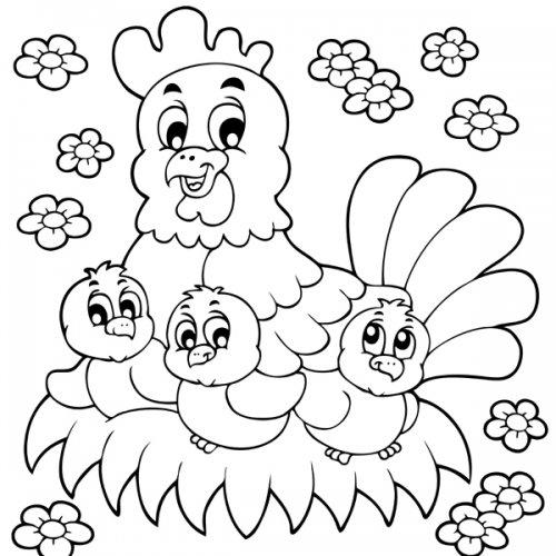 18 dessins de coloriage poule et ses poussins imprimer - Dessin de poules ...