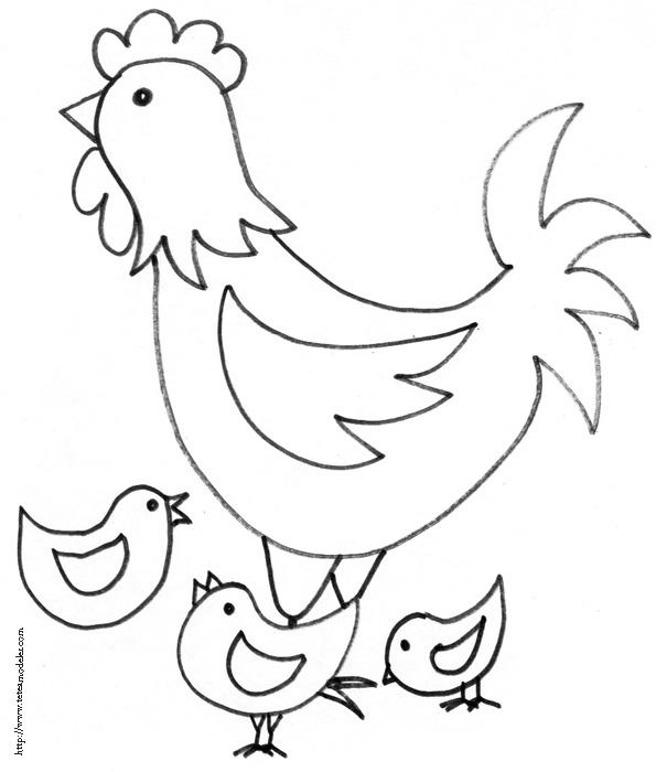 coloriage à dessiner poule qui picore