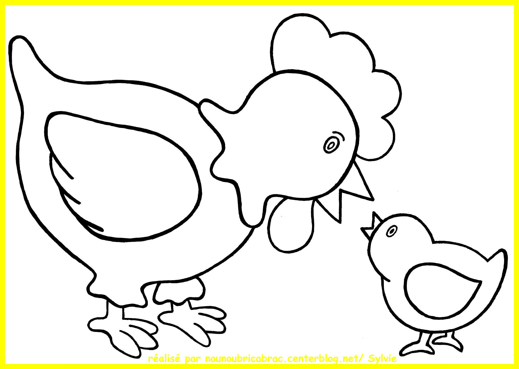dessin à colorier poule simple