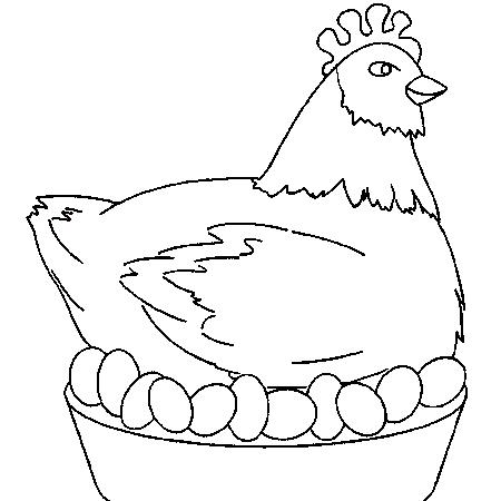 dessin à colorier poule rousse maternelle
