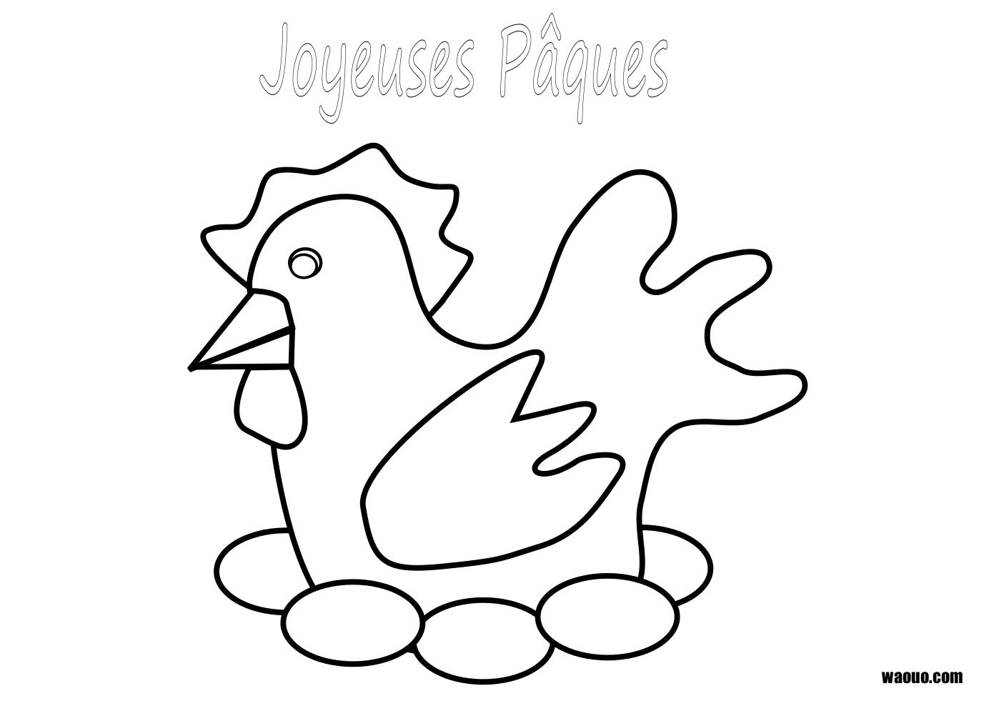 vrac coloriage à dessiner poule