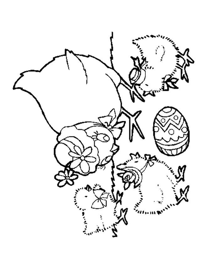 dessin à colorier poussin piou en ligne