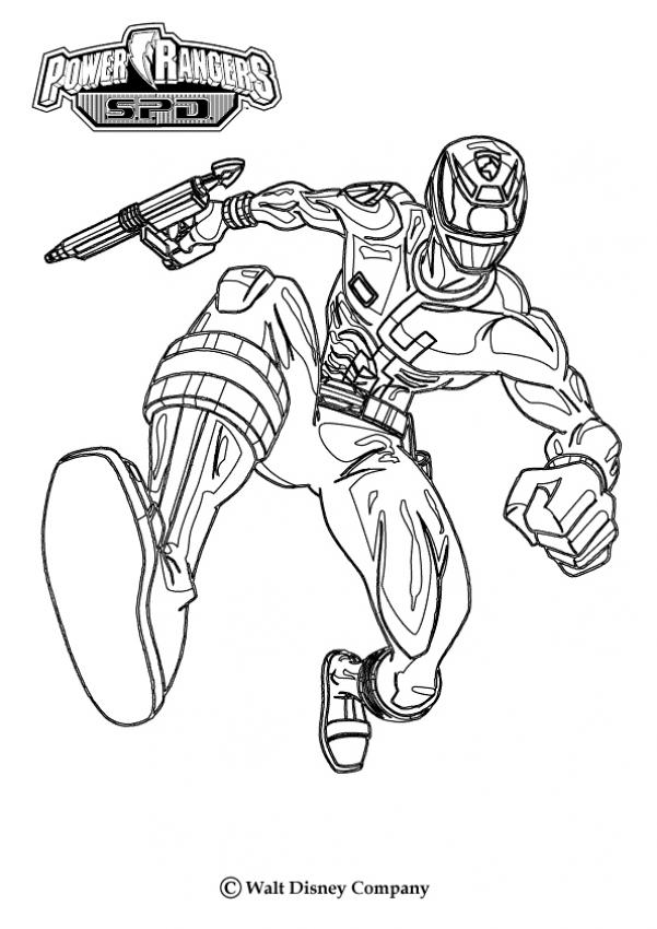 dessin à colorier power rangers rouge
