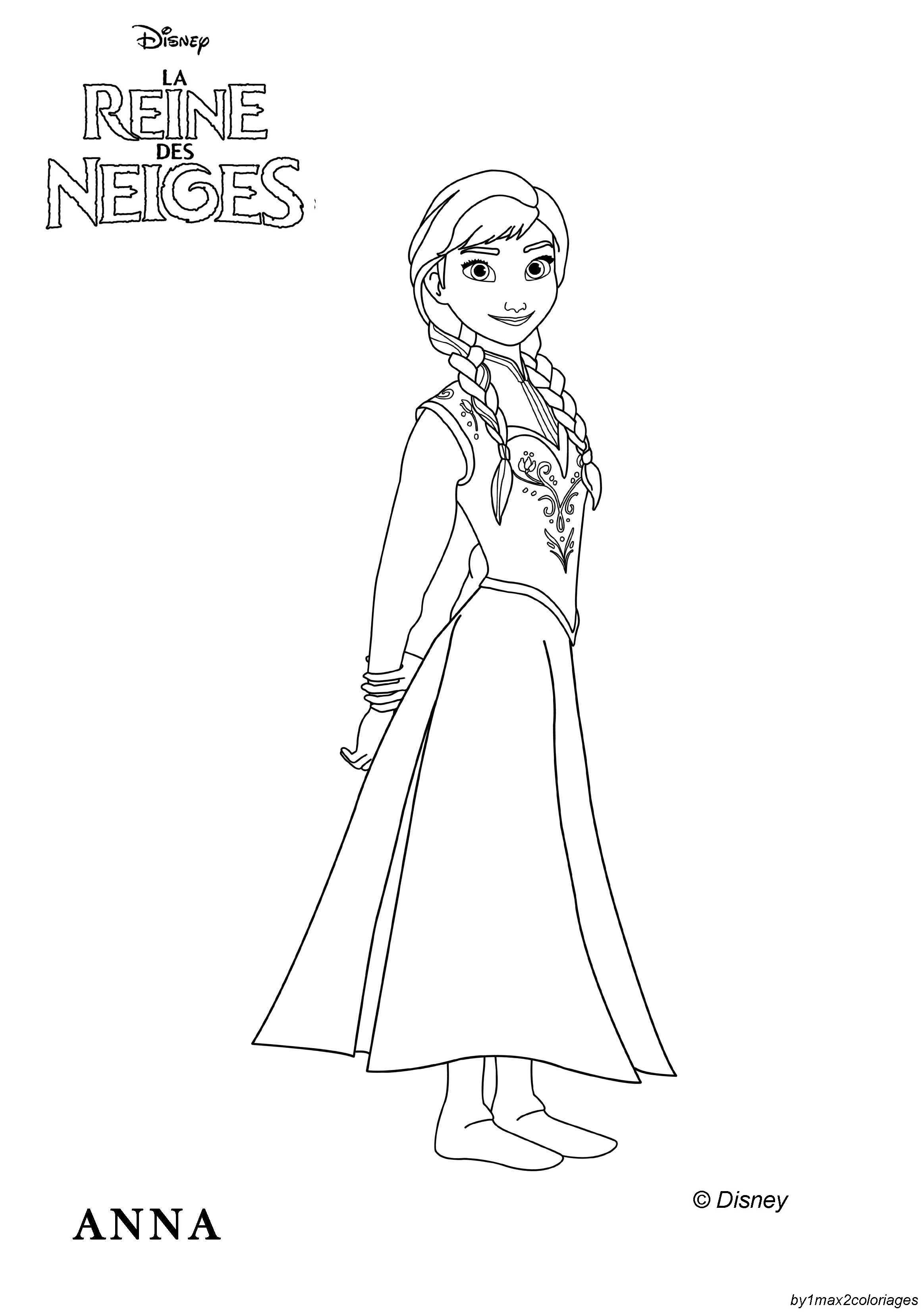 dessin à colorier princesse anna à imprimer