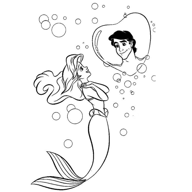 coloriage princesse arielle petite sirene