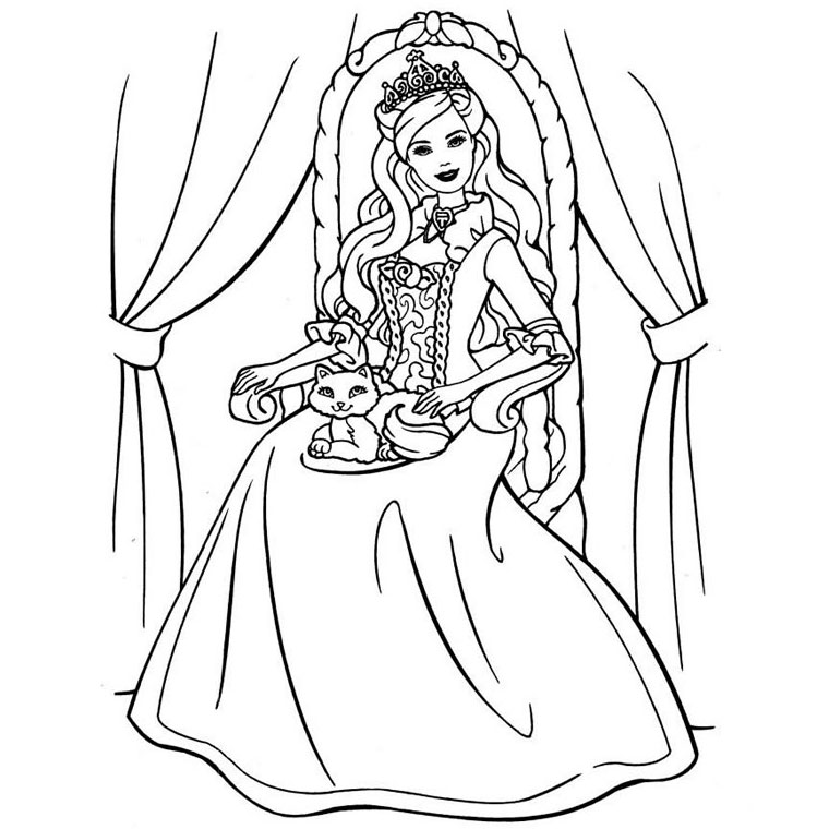 18 Dessins De Coloriage Princesse Barbie A Imprimer