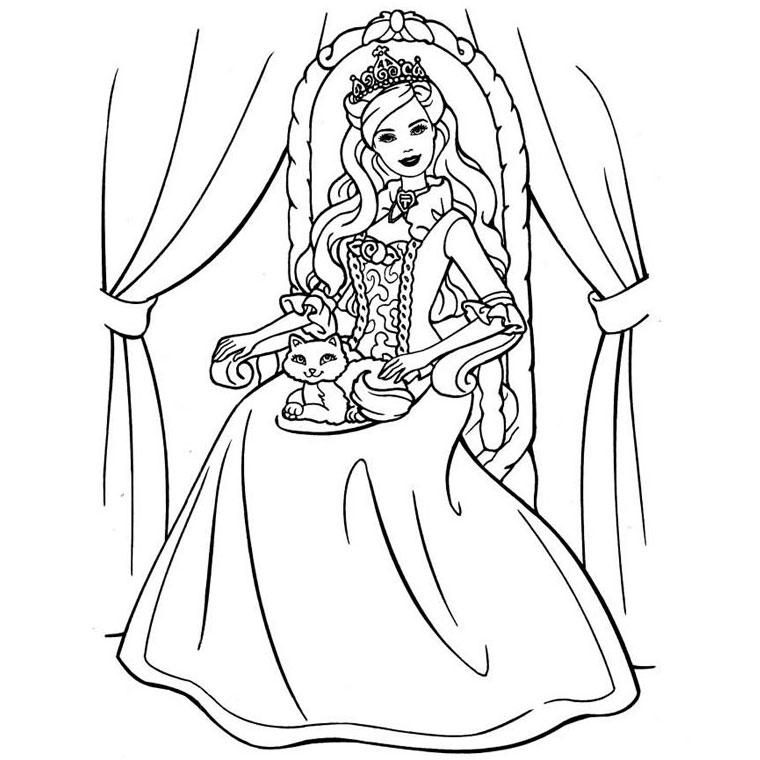 dessin à colorier princesse barbie imprimer