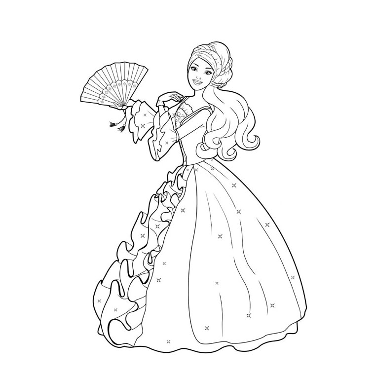 dessin à colorier princesse barbie