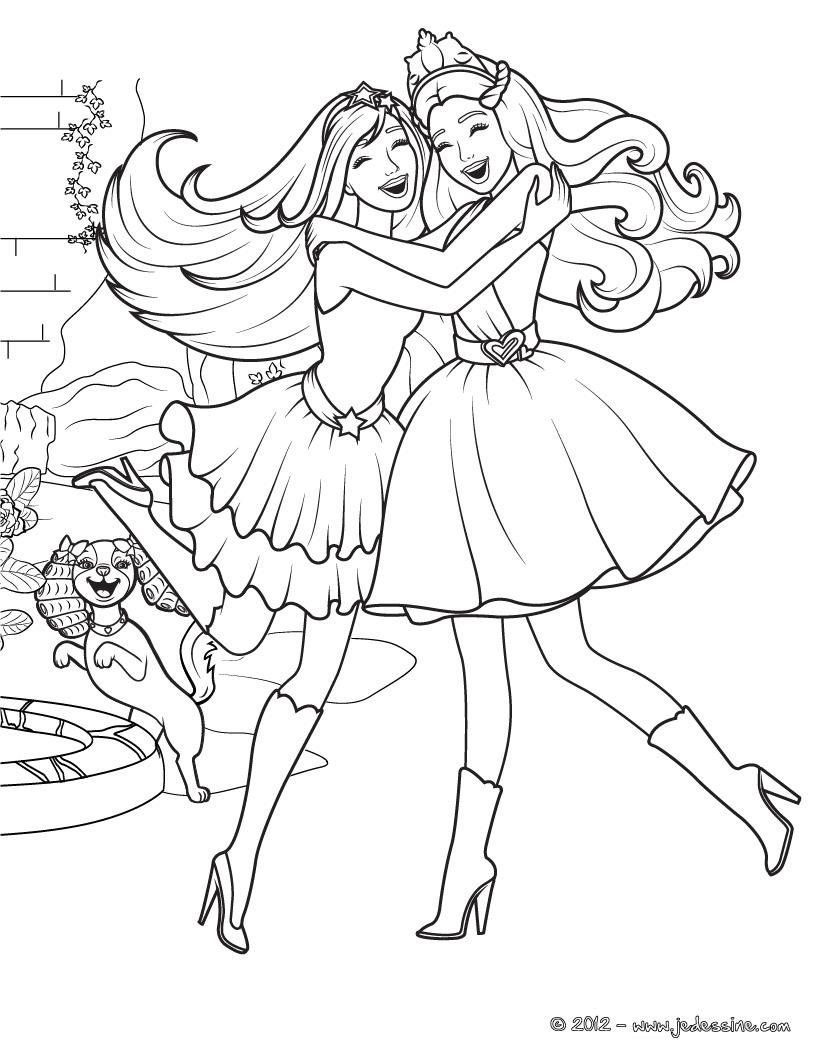 dessin à colorier barbie princesse de l'ile merveilleuse