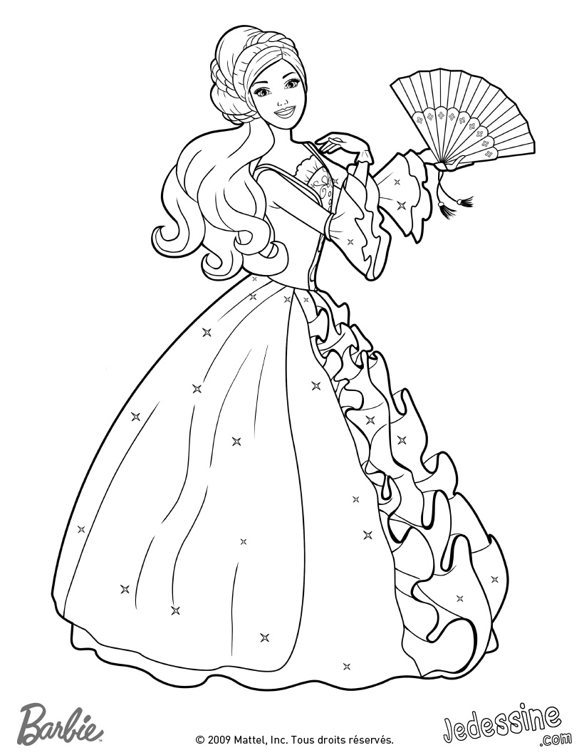22 dessins de coloriage princesse barbie imprimer - Barbie a colorier ...