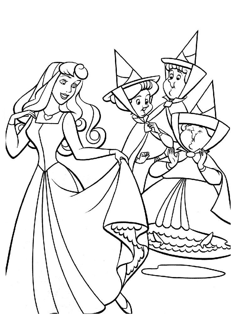 coloriage à dessiner princesse belle au bois dormant à imprimer