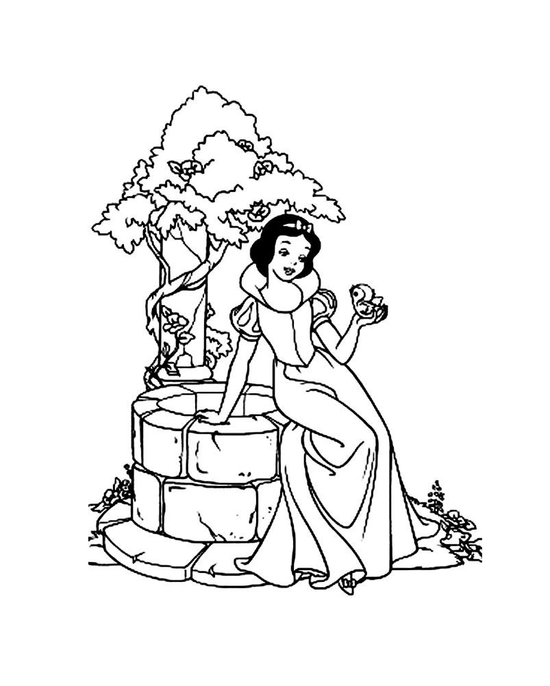 dessin à colorier de princesse blanche neige à imprimer