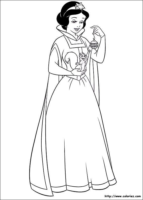 coloriage à dessiner blanche neige avec la sorcière