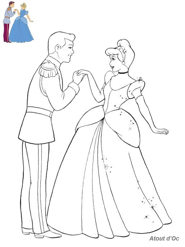 dessin à colorier princesse cendrillon disney