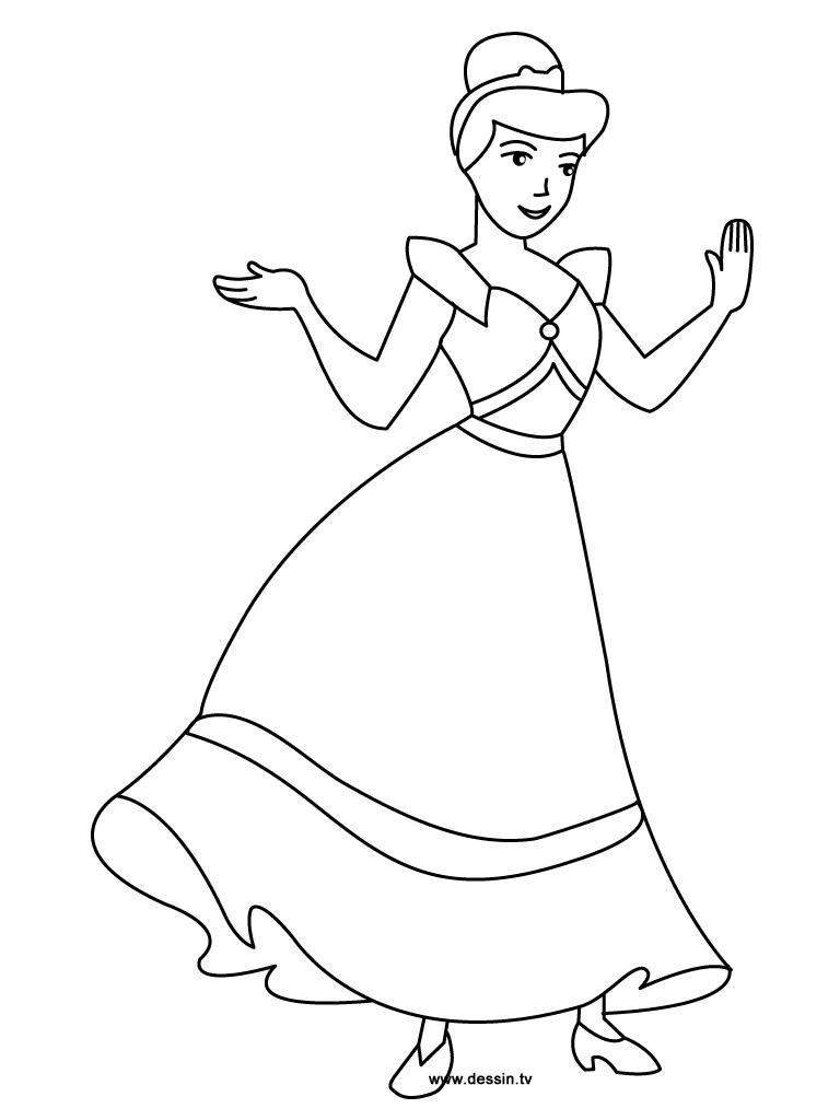 dessin à colorier princesse cendrillon à imprimer