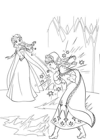 Coloriage à Dessiner Princesse Elsa Et Anna