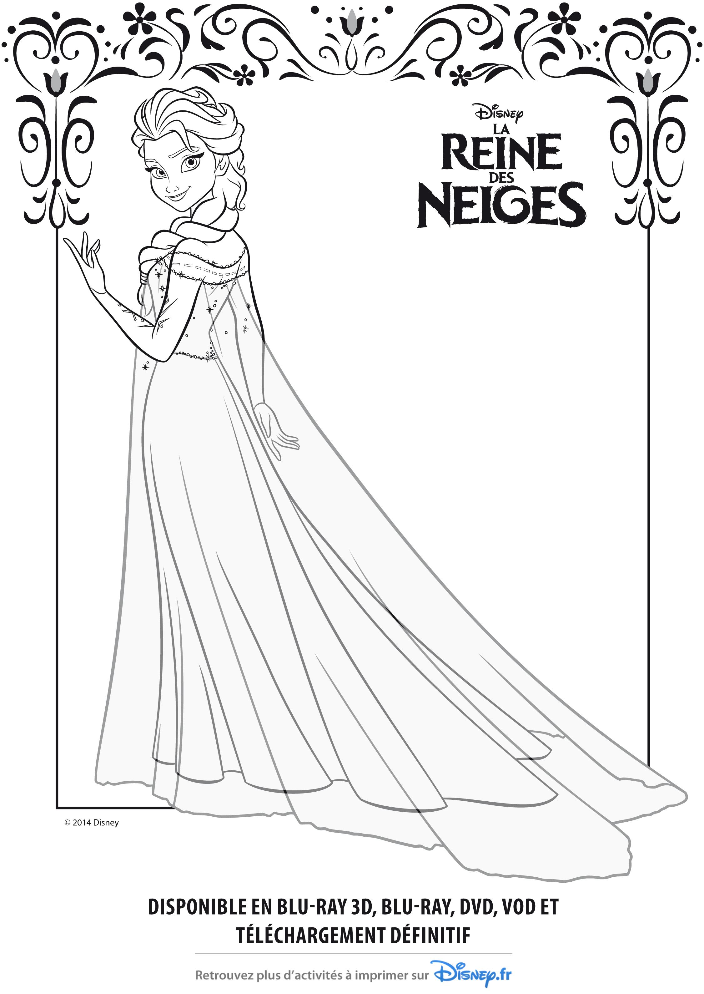 dessin princesse elsa à imprimer