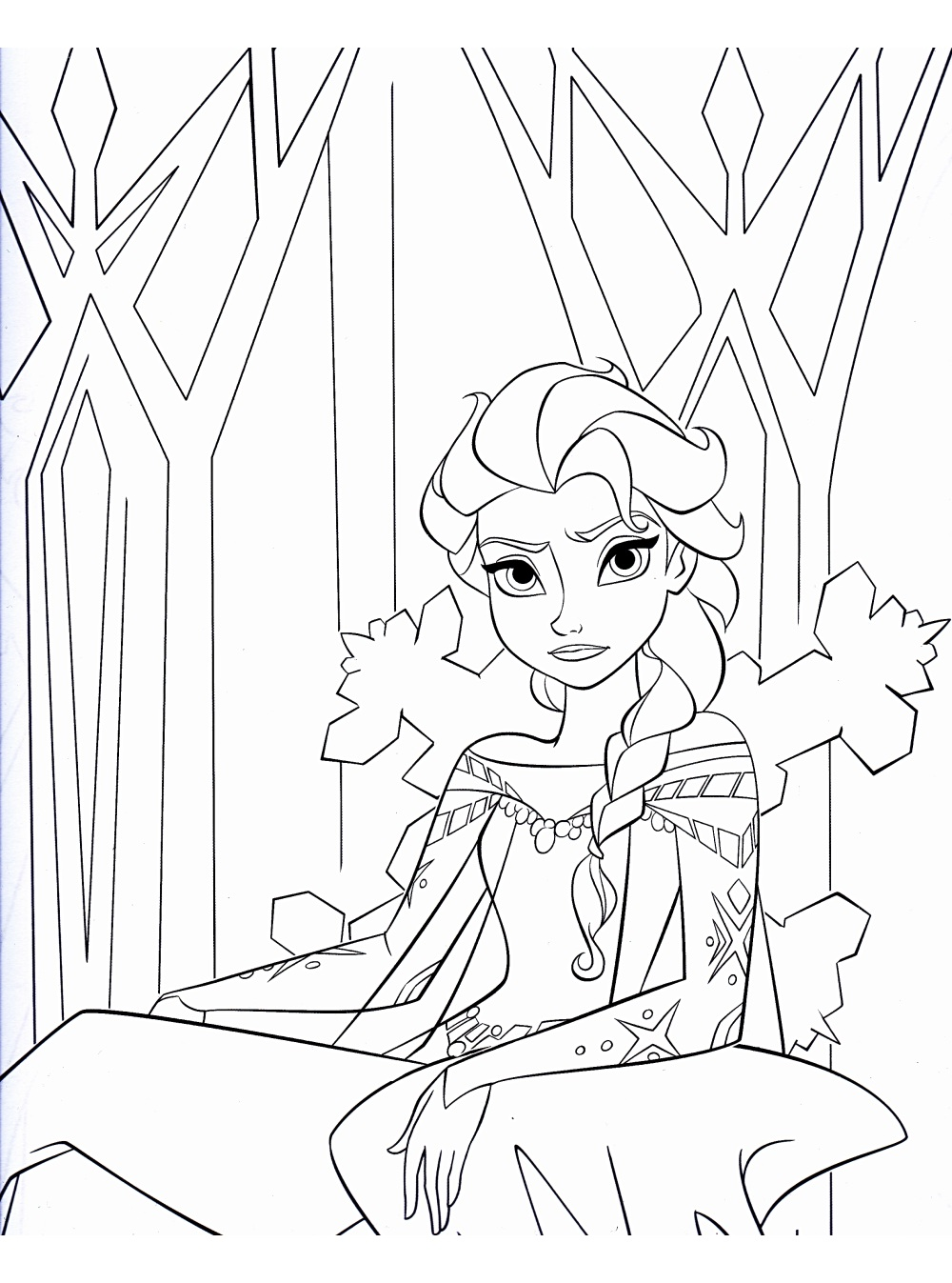 dessin à colorier princesse elsa à imprimer