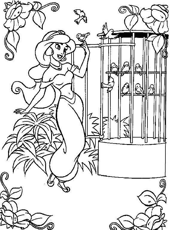dessin à colorier gratuit princesse jasmine