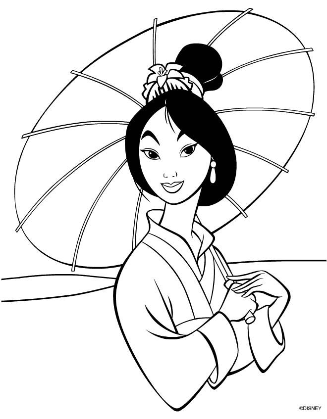dessin � colorier de princesse mulan