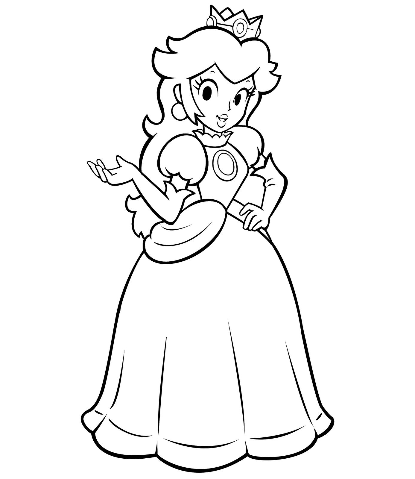 dessin à colorier princesse peach à imprimer