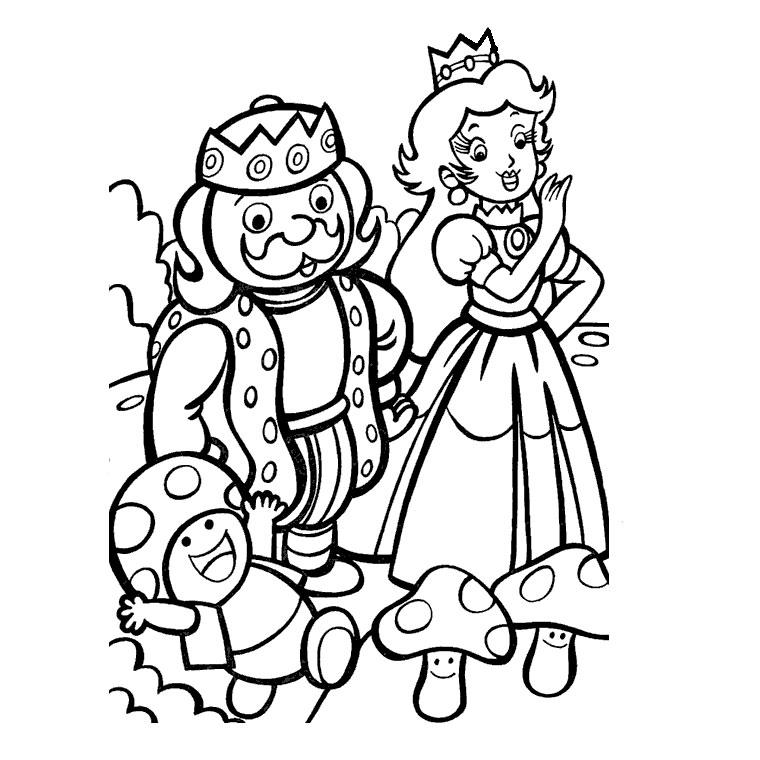 Coloriage de la princesse peach et daisy - Prince et princesse dessin ...
