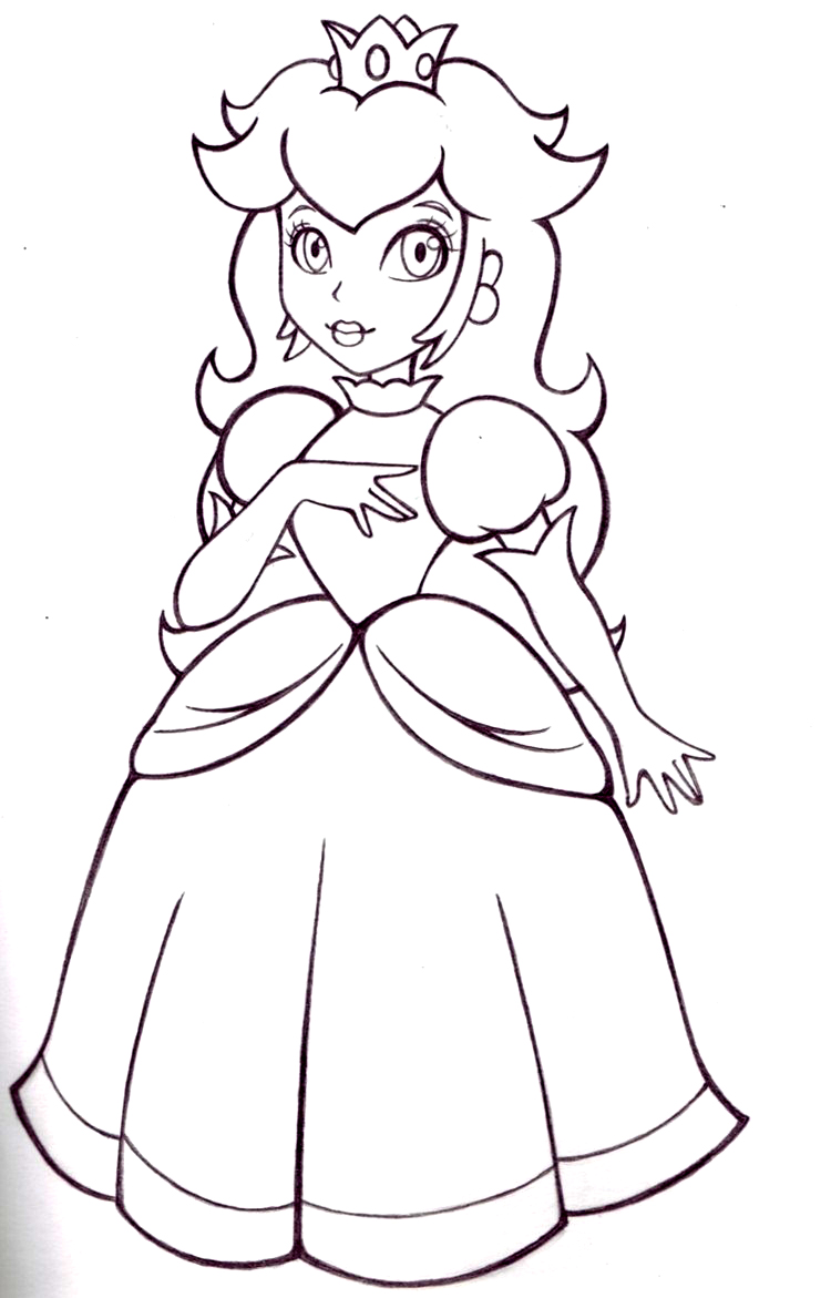 dessin dessin à colorier princesse peach