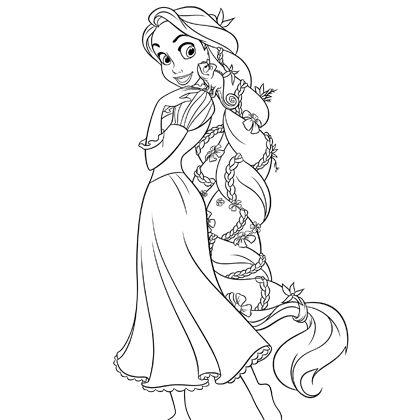 dessin à colorier princesse raiponce à imprimer