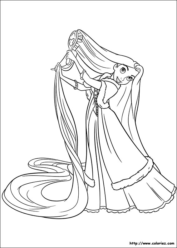 dessin à colorier princesse raiponce