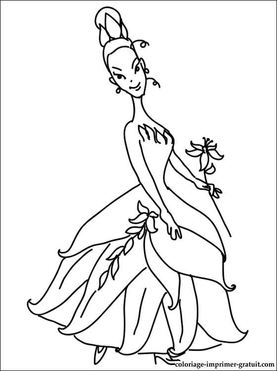 coloriage à dessiner princesse tiana