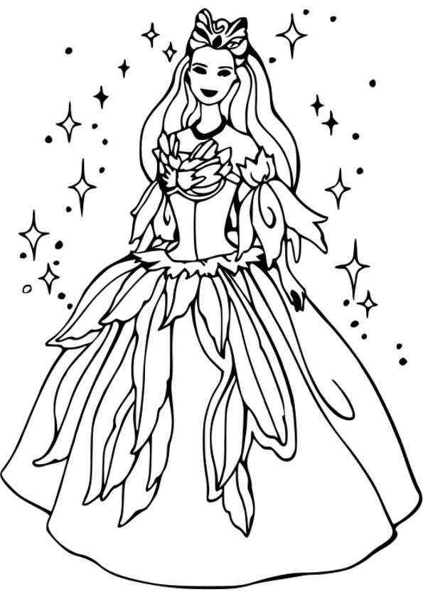 Coloriage princesse la belle et la bete a imprimer - Barbie princesse coloriage ...