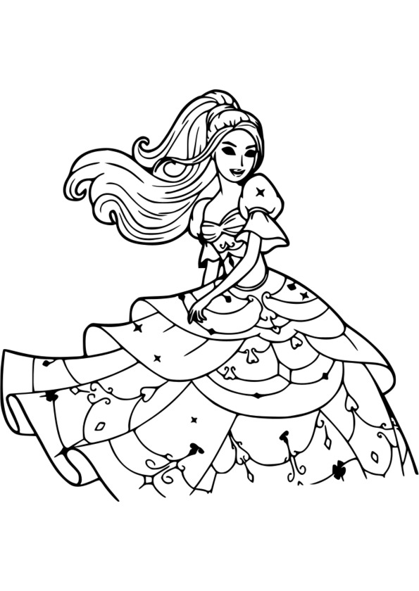 Coloriage princesse pop star - Barbie princesse coloriage ...