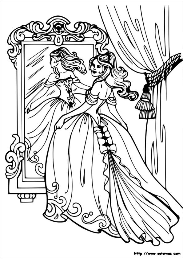 coloriage de princesse avec un cheval