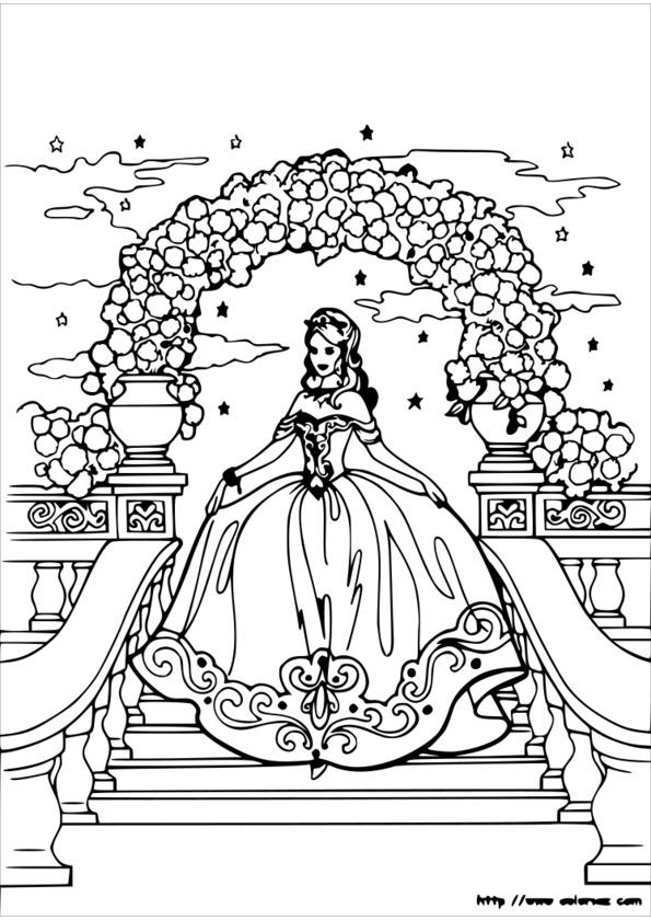 Coloriage princesse cheval imprimer - Coloriage princesse barbie ...