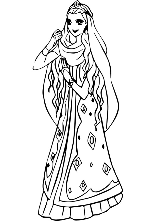 coloriage princesse rose