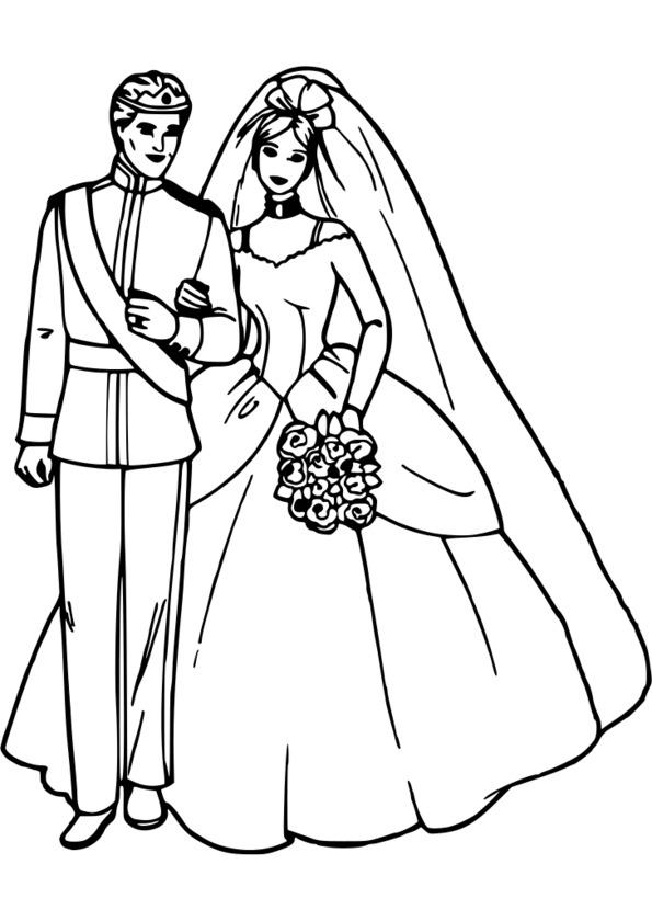 coloriage princesse mariée