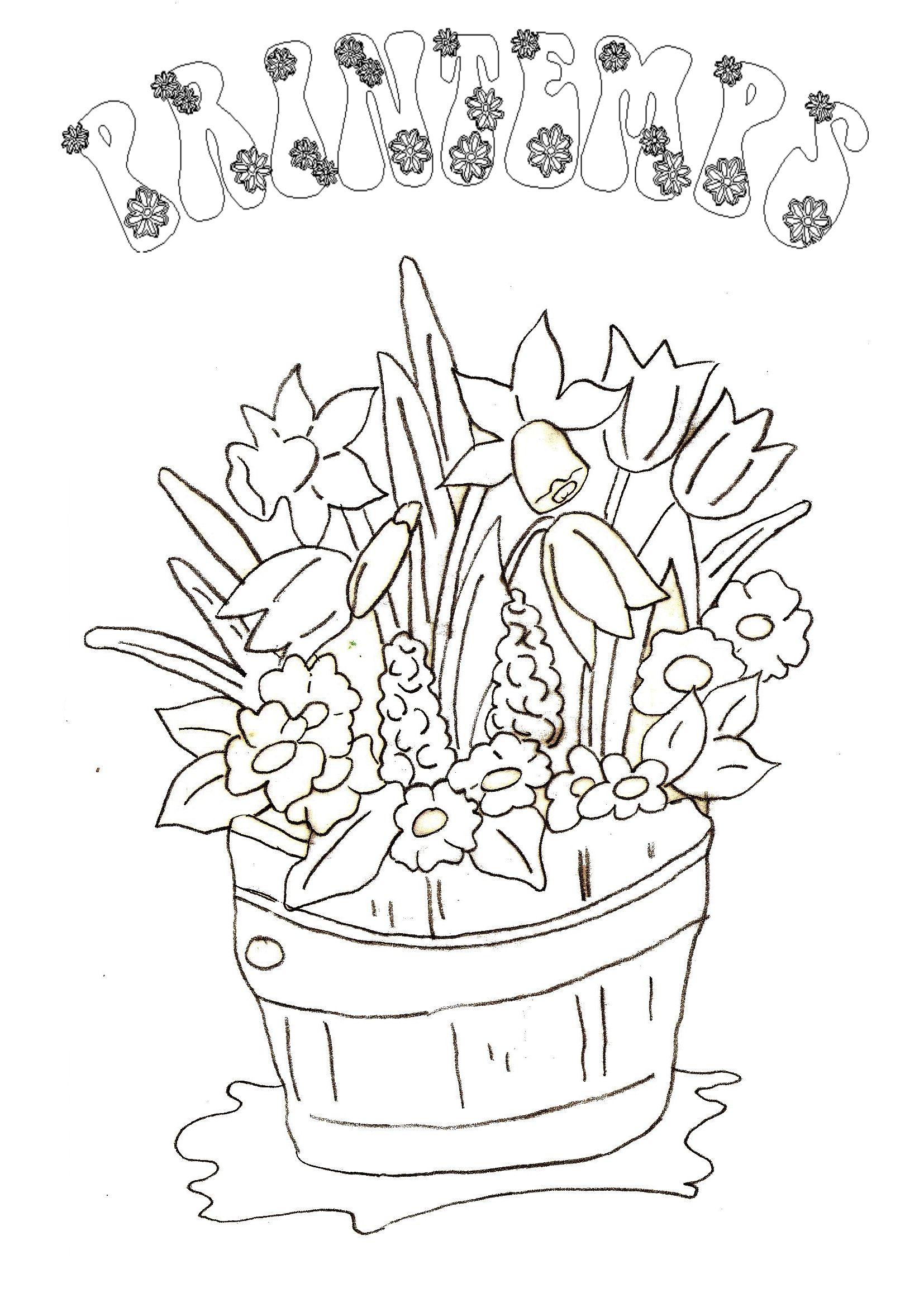 dessin à colorier printemps cp