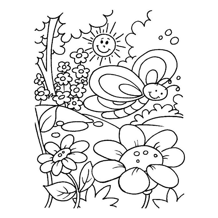 dessin à colorier maternelle printemps à imprimer