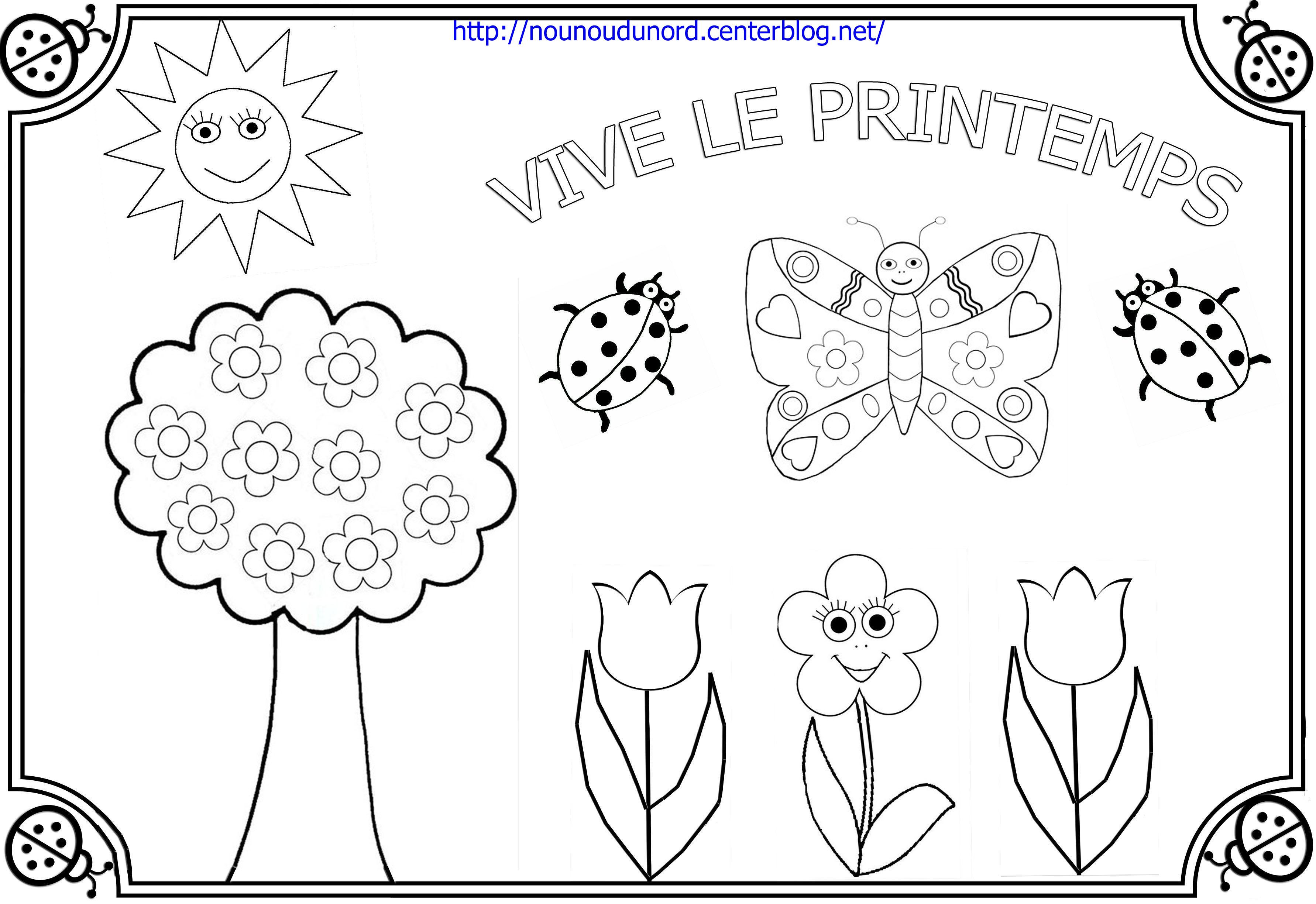 dessin à colorier printemps à imprimer